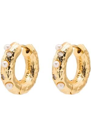 Anni Lu 18kt -plated pearl-embellished hoop earrings