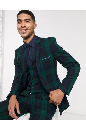 ASOS Super skinny suit jacket in blackwatch tartan