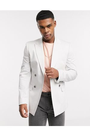 ASOS Skinny double breasted blazer in ice cotton