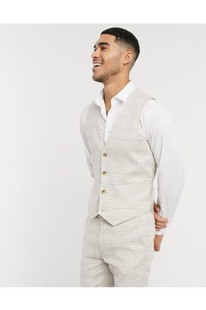 ASOS Wedding super skinny suit waistcoat in stretch cotton linen in check