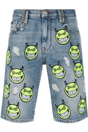 Philipp Plein Evil Smile denim Bermuda shorts
