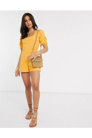 ASOS Women Playsuits - Seersucker lace up back playsuit in yellow
