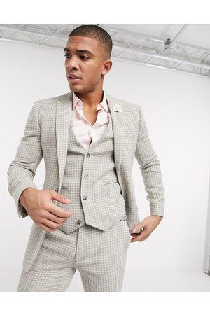 ASOS Wedding super skinny suit jacket in neutral wool blend houndstooth