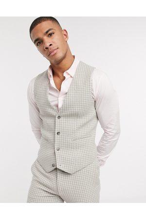 ASOS DESIGN Wedding super skinny suit waistcoat in neutral wool blend houndstooth