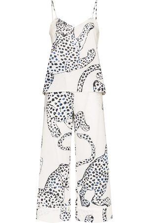 Desmond & Dempsey Jaguar-print pajama set