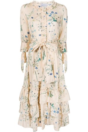 LUISA BECCARIA Floral print ruffle trim dress