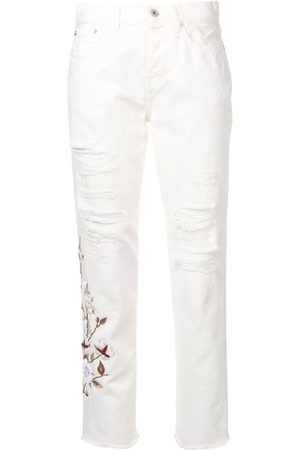 OFF-WHITE Distressed flowers jeans