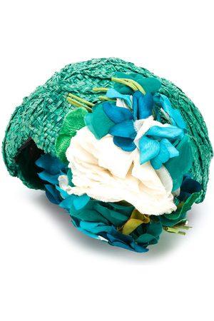 A.N.G.E.L.O. Vintage Cult 1950s floral appliqué raffia hat