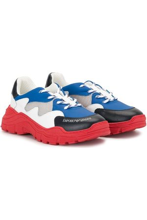 Emporio Armani TEEN colour-block lace-up sneakers