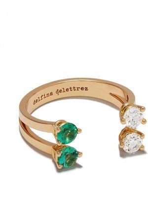DELFINA DELETTREZ 18kt rose gold Domino Dots peridot and diamond ring