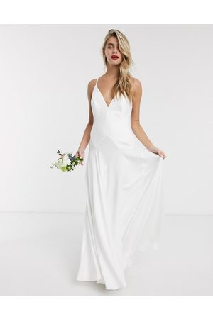 ASOS Women Maxi Dresses - Paige satin plunge wedding dress with cross back