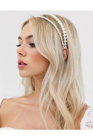 DesignB London Double row headband in pearl
