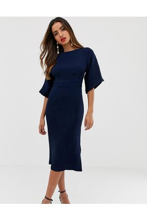 Closet Ribbed pencil dress with tie belt in