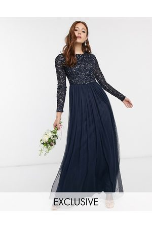 Maya Bridesmaid long sleeve maxi tulle dress with tonal delicate sequins in