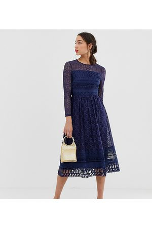 ASOS ASOS DESIGN Tall Premium lace midi skater dress in navy