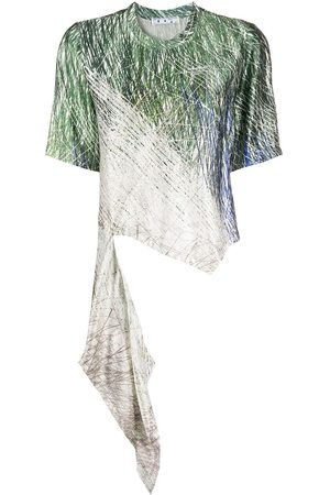 OFF-WHITE Asymmetric-hem abstract-print T-shirt