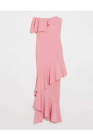 True Violet Bandeau midaxi dress with ruffle detail in coral