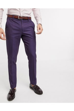 ASOS Wedding skinny wool mix suit trousers in soft berry twill