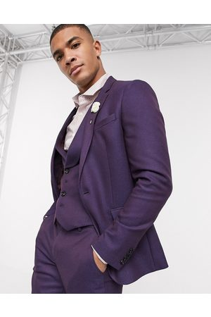 ASOS Wedding skinny wool mix suit jacket in soft berry twill