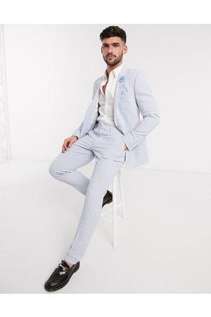 ASOS Wedding skinny suit trousers in light gingham cotton seersucker