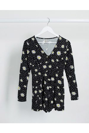 ASOS Button front tea playsuit with long sleeves in daisy print-Multi