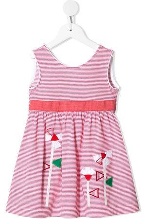 Familiar Embroidered striped midi dress