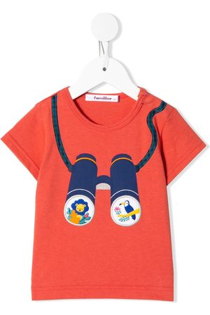 Familiar Baby Short Sleeve - Binoculars embroidered crew neck T-shirt