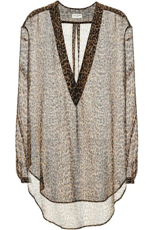 Saint Laurent Women Blouses - Leopard-print wool blouse