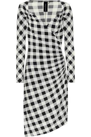 Norma Kamali Exclusive to Mytheresa – Checked jersey asymmetric dress
