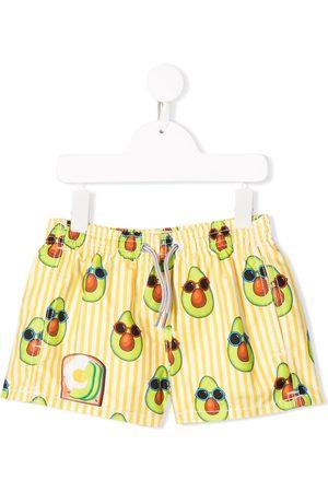 MC2 SAINT BARTH Avocado print striped swim shorts