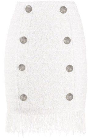 Balmain Buttoned fringe-hem mini skirt