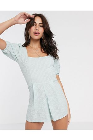 ASOS Seersucker lace up back playsuit in mint