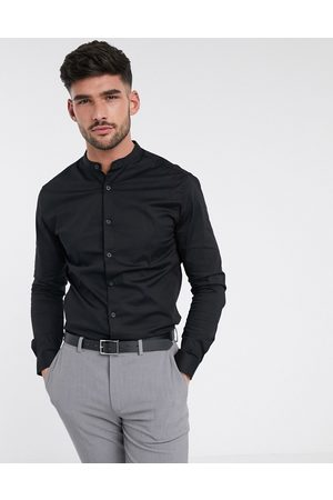 ASOS Stretch skinny fit shirt in with grandad collar