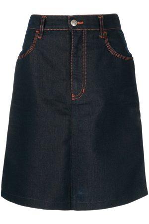 Fendi Stitch details denim skirt