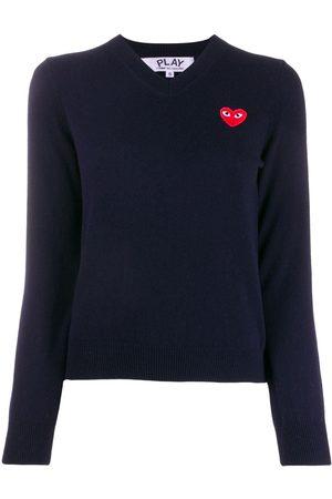 Comme des Garçons Heart embroidery slim-fit jumper