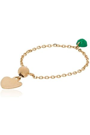 PERSÉE 18kt gold emerald-pendant chain ring