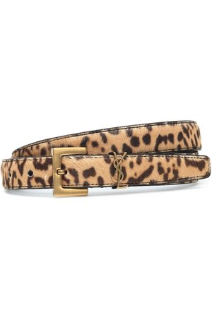 Saint Laurent Monogram leopard-print calf-hair belt