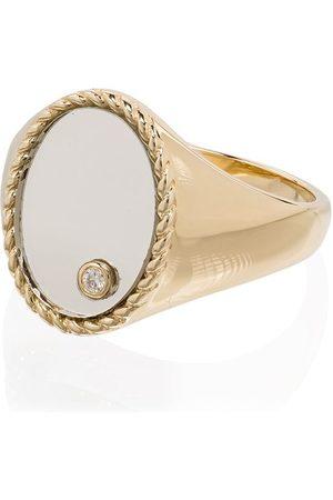 YVONNE LÉON 9kt yellow mirror diamond signet ring
