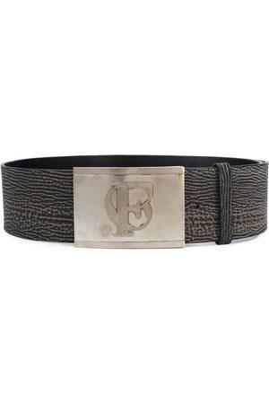 Gianfranco Ferré 1990s logo embossed buckle belt