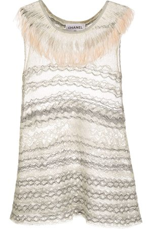 CHANEL Fringed neck sleeveless embroidered top