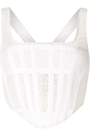 DION LEE Mesh panelled corset crop top