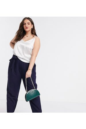 ASOS ASOS DESIGN Curve tailored tie waist tapered ankle grazer trousers