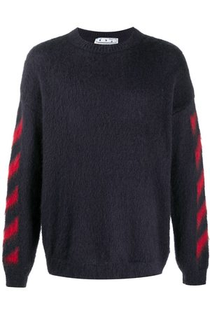 OFF-WHITE DIAG BRUSHED MOHAIR CREWENCK DARK GREY