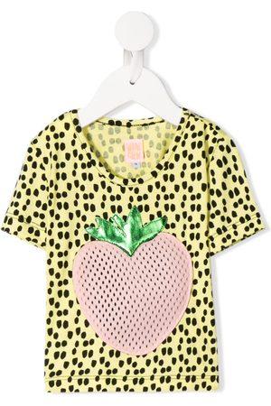 Wauw Capow Johanna strawberry appliqué T-shirt