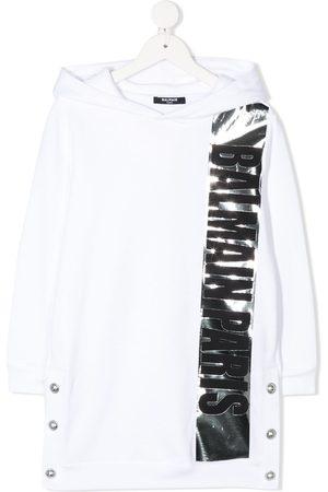 Balmain Metallic stripe hooded dress