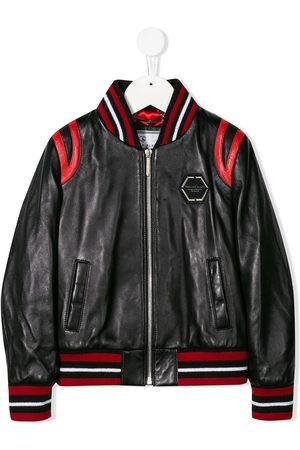 Philipp Plein Space leather bomber jacket