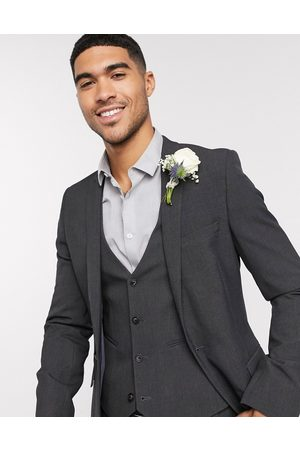 ASOS Wedding super skinny suit jacket in charcoal four way stretch