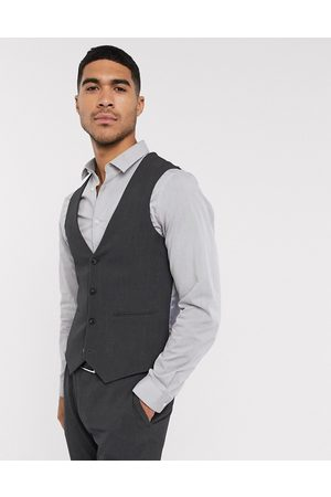 ASOS Wedding super skinny suit waistcoat in charcoal four way stretch