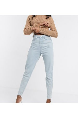 Missguided Mom jeans with raw hem in light wash