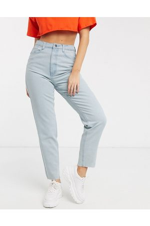 Missguided Mom jeans with raw hem in light